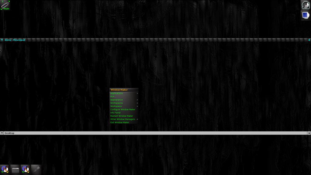 WindowMaker running with Darkburn theme