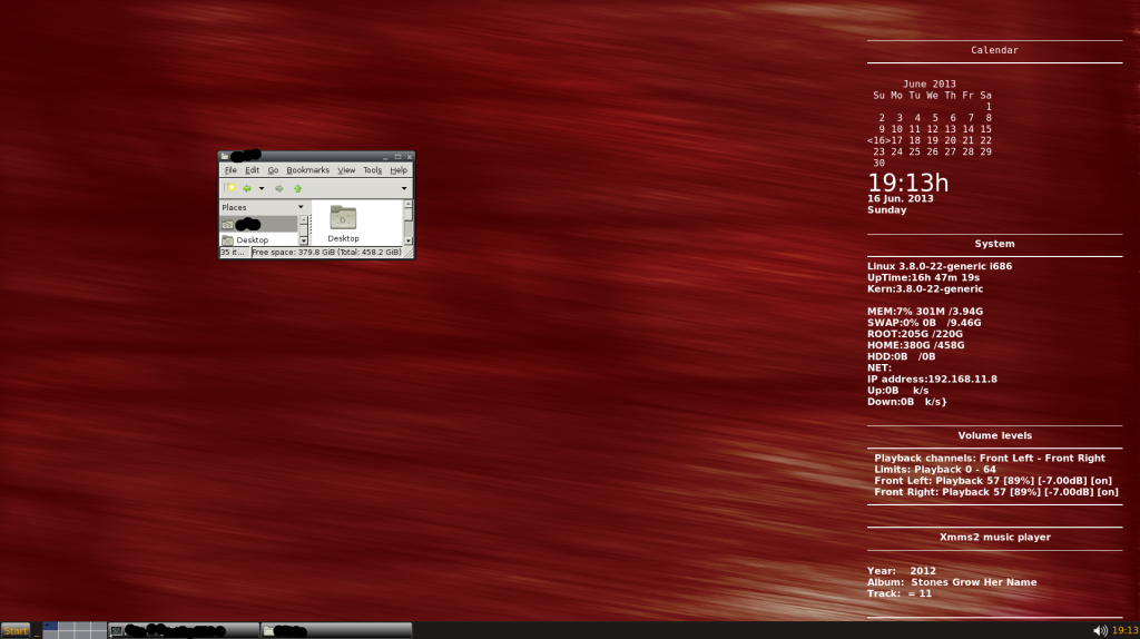 Screenshot with Jwm running conky and some other programs. Left click menu is hidden in the screenshot
