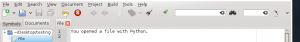 Pygtk dialog example, Pygtk dialog opening a file