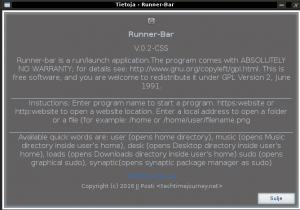 runner-bar, techtimejourney programs, screenshots linux