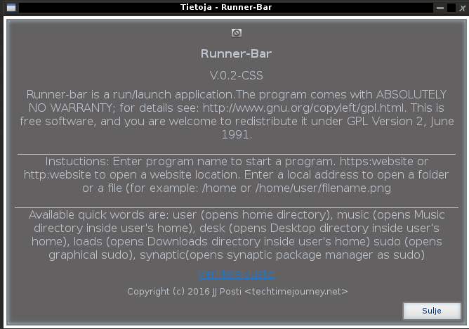 runner-bar, techtimejourney programs, screenshots linux